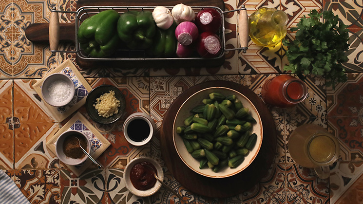 Okra with Pomegranate Molasses