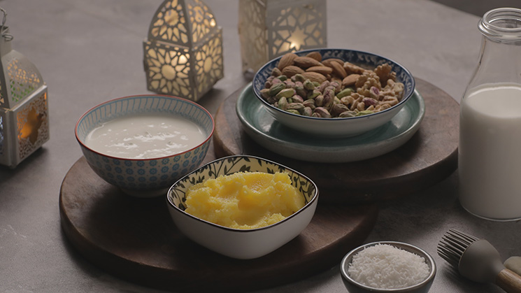 Umm Ali with coconut milk and nuts