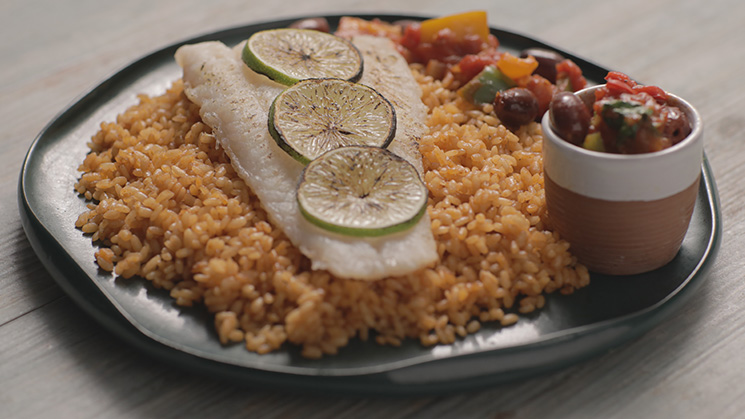 Sea bass fillet with hot sauce